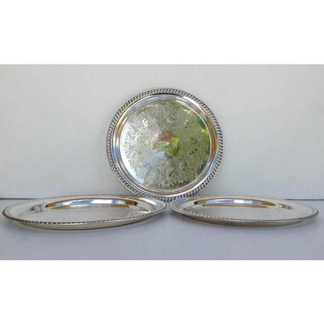 Large Silver Plate Round Platter Trays -Set of 3 - Image 4 of 11
