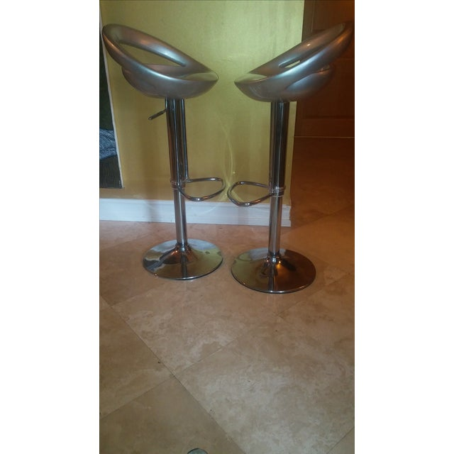 Silver Modern Bar Stools - A Pair - Image 6 of 8