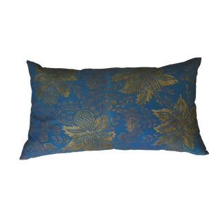 Venetian Turquoise Blue and Gold Linen Pillow For Sale