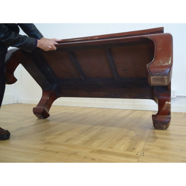 Chinese Dark Red Laquer Wood Coffee Table - Image 6 of 7