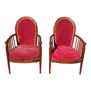 1940s Pair of French Art Deco Solid Mahogany Armchairs or Club Chairs For Sale