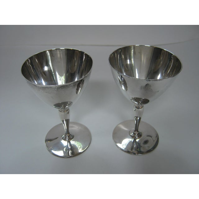 Tiffany and Co. Vintage Tiffany & Company Sterling Silver Wine Goblets - a Pair For Sale - Image 4 of 6
