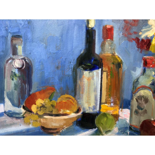 Contemporary Colorful Still Life Painting With Fruit, Flowers and Bottles For Sale - Image 3 of 6