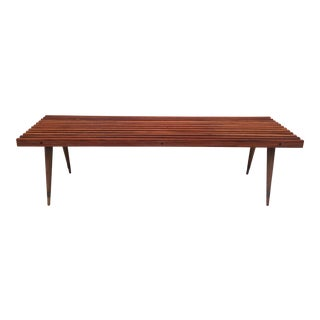 Mid Century Modern Refinished Walnut Slat Bench For Sale