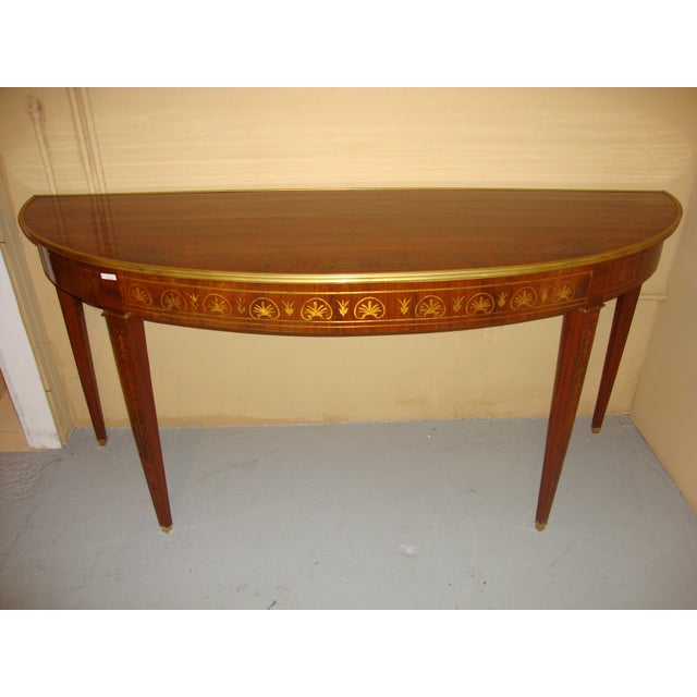 Brass Boule Inlaid Demilune Console Tables - A Pair For Sale - Image 7 of 11