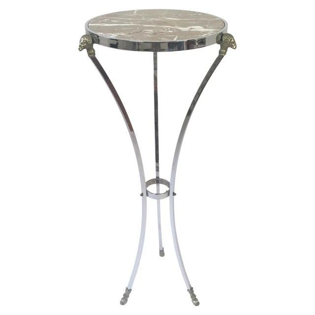 Brass Italian Regency Steel, Brass & Marble Rams Head Pedestal Table For Sale - Image 7 of 7