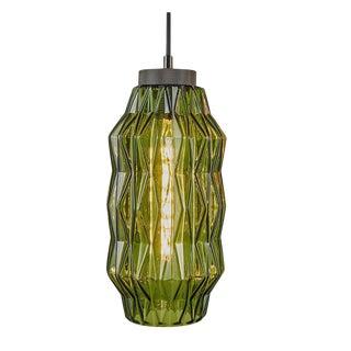 Laguna Olive Geometric Glass Pendant Light For Sale