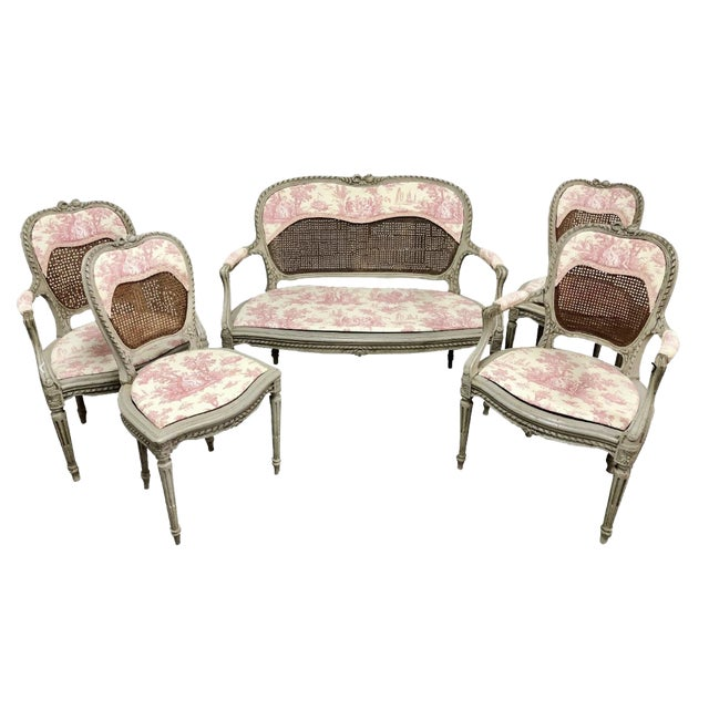 19th Century French Louis XV Caned Toile Parlor Suite - 5 Pc. Set For Sale