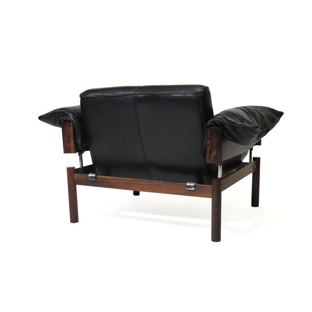 Percival Lafer Brazilian Modernist Rosewood Sofa and Chair in Black Leather For Sale In San Francisco - Image 6 of 13