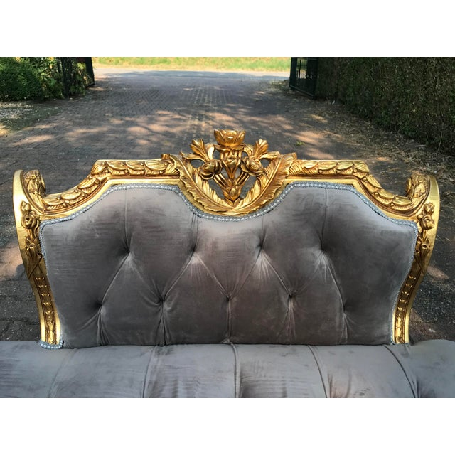 French French Louis XVI Style Gray Settee For Sale - Image 3 of 8