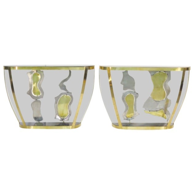 Italian Modern Sculptural Console Tables - Pair - Image 1 of 7