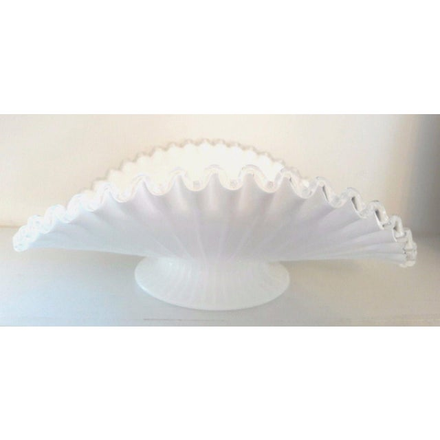 Mid-Century Modern Fenton Milk Glass Silver Crest Banana Bowl Centerpiece For Sale - Image 3 of 6