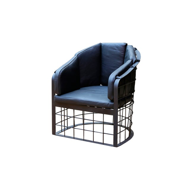 Wrought Iron Grid Lounge Chair - A Pair - Image 3 of 3
