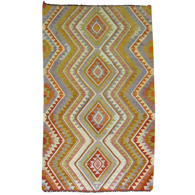 Vintage Turkish Kilim - 6′4″ × 10′5″ - Image 1 of 6