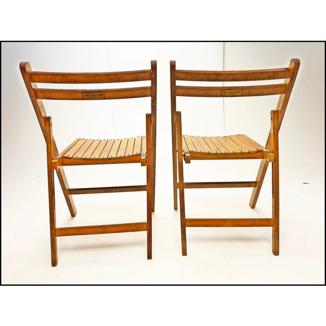 Americana Vintage Rustic Slat Wood Folding Chairs - Set of 4 For Sale - Image 3 of 13