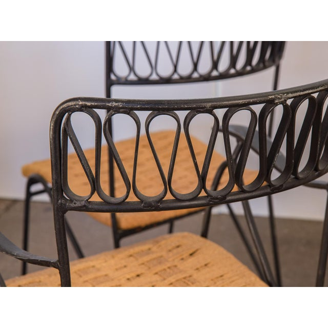 Glass Salterini Woven Ribbon Chairs and Table Patio Set - 5 pieces For Sale - Image 7 of 11