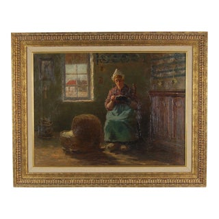 1900s Gustavian Melbourne Hardwick Painting of Dutch Mother Sewing While Tending to Baby in Crib For Sale