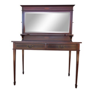Antique French Mahogany & Satin Wood Inlay Dressing Table Vanity