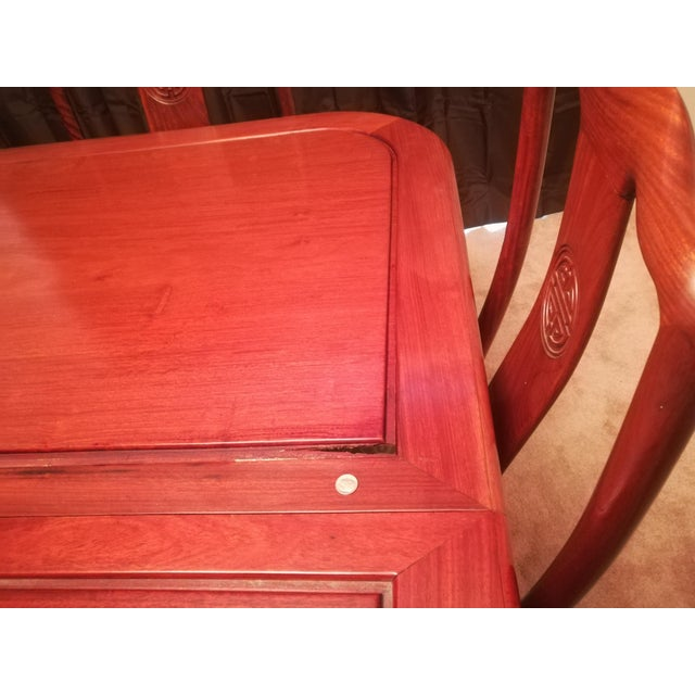 1980s Asian Cherry Rosewood Dining Set - 9 Pieces For Sale In Indianapolis - Image 6 of 7
