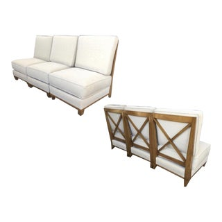 Jacques Adnet Oak Couch Made of 3 Sleeper Chair Separable Into a Couch For Sale