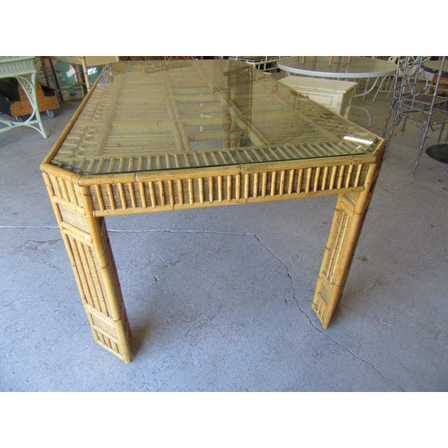 Tan Intricate Natural Bamboo Dining Table For Sale - Image 8 of 13