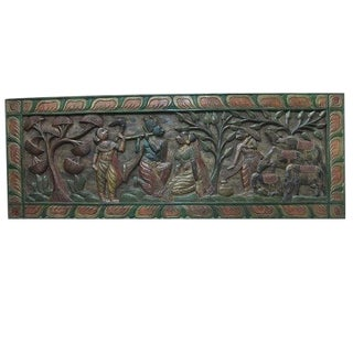Indian Vintage Hand Carved Radha Krishna Gopis Wall Panel / Sculpture