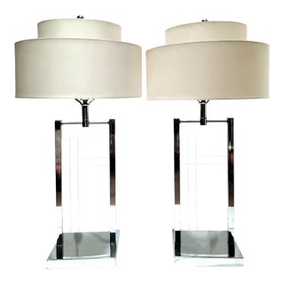 1970's Etched Lucite & Chrome Table Lamps by George Kovacs - a Pair For Sale