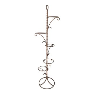 1960 Hollywood Regency Gold Gilt Iron Plant Stand For Sale