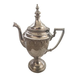 Late 19th Century Silver Tea Pot With Lid For Sale