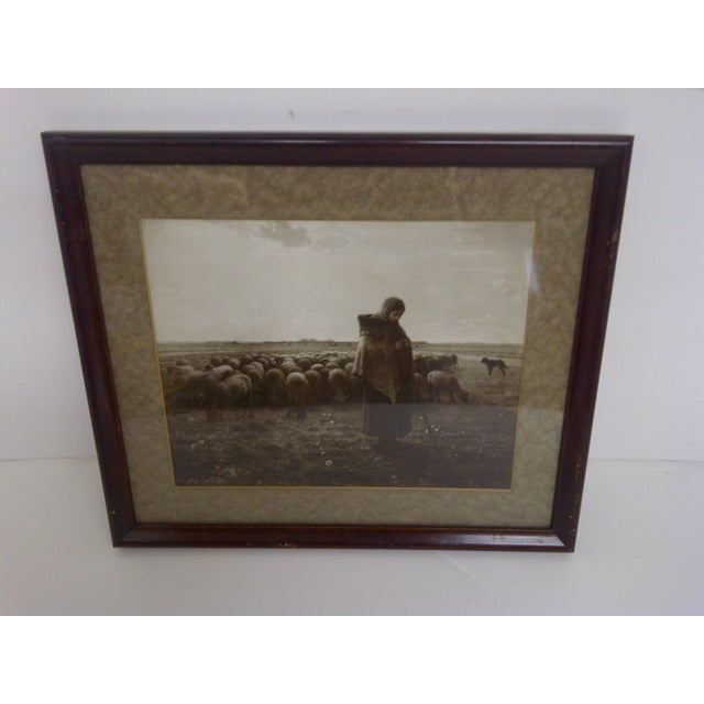 """Tending the Flock"" -- Circa 1900's Print Wood frame, matted, glass front. Ready for display. Very good condition. The..."
