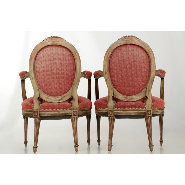 Vintage French Louis XVI Style Gray Painted Fauteuil Arm Chairs - a Pair For Sale - Image 4 of 10