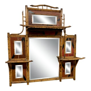 1950s Mid-Century Oriental-Inspired Bamboo Mirror With Shelves For Sale