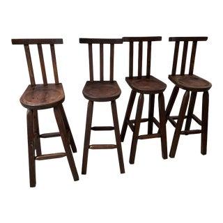 1970s Vintage Rustic Barstools - Set of 4 For Sale