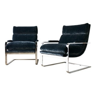 Pair of Milo Baughman Designed Cantilevered Armchairs 1975 For Sale