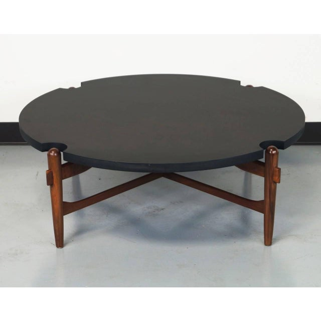 Walnut Cut-Out Coffee Table Attributed to Greta Grossman For Sale - Image 7 of 7
