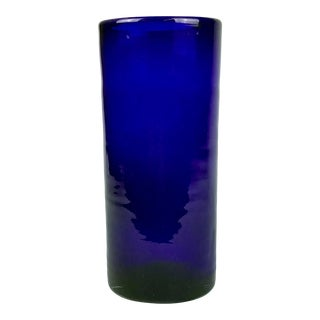 Hand Created Cobalt Blue Glass Cylinder Vase For Sale