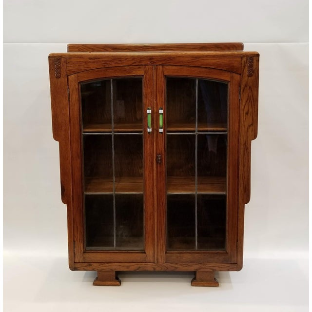 1920s English Art Deco Oak Display Cabinet / Bookcase With Glazed Doors For Sale - Image 12 of 12