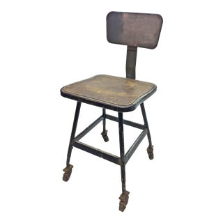 Vintage Industrial Gray Metal Rolling Stool