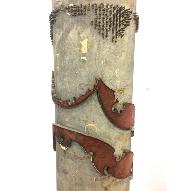 Antique French Wallpaper Roll Table Lamp For Sale In Dallas - Image 6 of 11