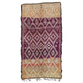 1970s Vintage Purple Beni M'Guild Moroccan Rug - 6′ × 11′ For Sale