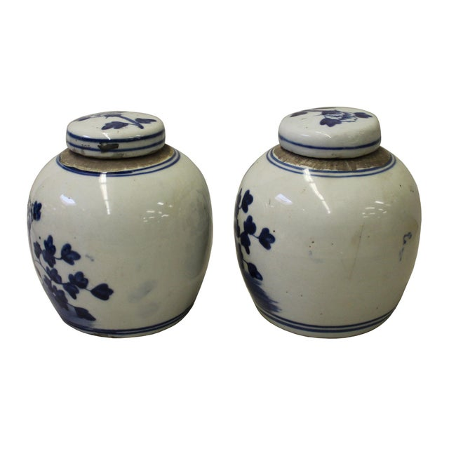 Pair Blue White Small Oriental Graphic Porcelain Ginger Jars - Image 2 of 5