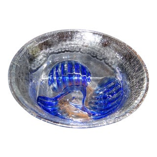 1981 Peter Bramhall Signed Studio Art Glass Bowl For Sale