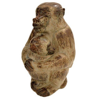 Stoneware Royal Copenhagen Baboon by Knud Kyhn, Denmark, 1950s For Sale