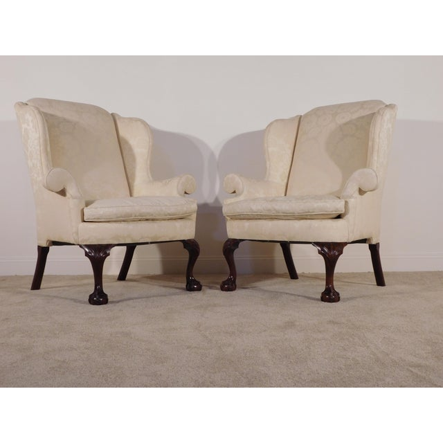 Kindel Winterthur Mahogany & Yellow Damask Easy Wingback Fireside Chairs - a Pair For Sale - Image 13 of 13