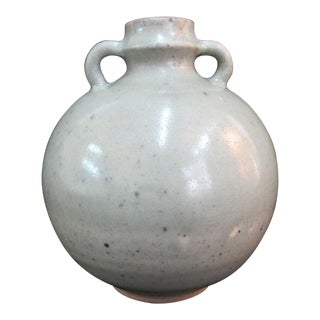 Antique Chinese Celadon Globular Pot With Double Loop Handles For Sale