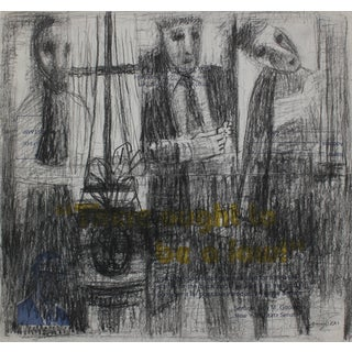 Pasquale Patrick Stigliani Three Abstracted Figures in Graphite With Yellow Blue and Text, 20th Century For Sale
