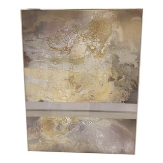 Midcentury Modern Abstract Tonal Multimedia Painting Encased in Lucite Frame For Sale