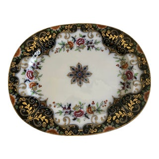 English Imari Porcelain Meat Platter, C1860 With Gold, Blue & Red Hand Painted Decor For Sale