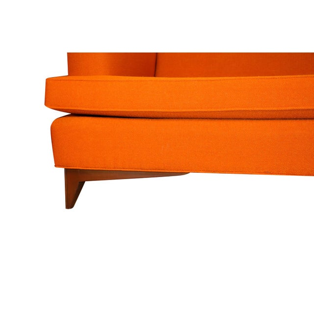 Mid Century Modern Orange Upholstered Curved Sofa For Sale - Image 10 of 12