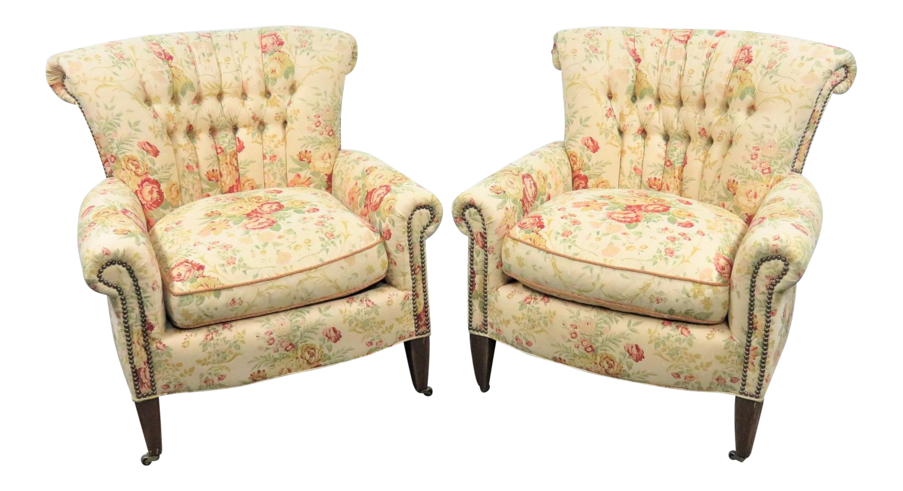 Old Hickory Tanney Tufted Club Chairs   A Pair